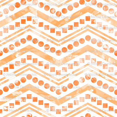 Watercolor Chevron Mix White Orange