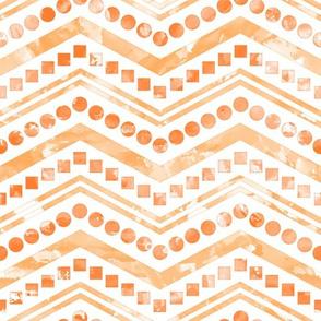 Watercolor Chevron Mix White Orange