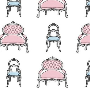 Vintage Sofa and Chair / Chic Pink & Blue