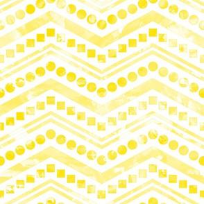 Watercolor Chevron Mix White Yellow