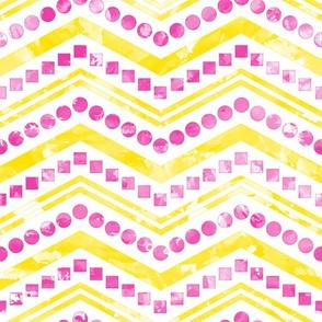 Watercolor Chevron Mix Yellow Pink