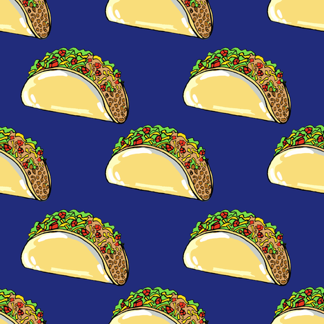Tacos on navy- small scale fabric by tarareed on Spoonflower - custom fabric
