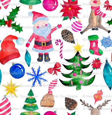 """6"""" Santa Reindeer Watercolor"""