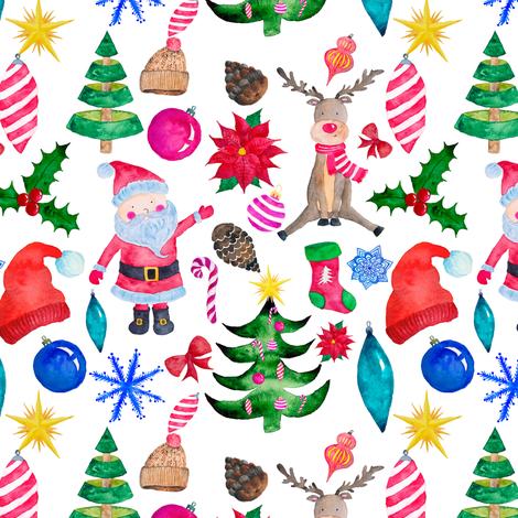 "6"" Santa Reindeer Watercolor fabric by greenmountainfabric on Spoonflower - custom fabric"