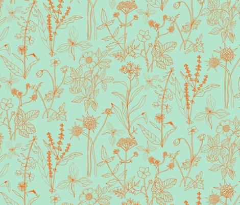Scottish Wildflowers 1 - Mint fabric by zoe_ingram on Spoonflower - custom fabric
