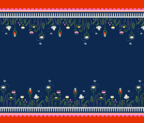 Garden Party - Floral Double Border fabric by michalwright-ward on Spoonflower - custom fabric