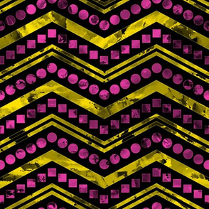 Watercolor Chevron Mix Black Yellow Pink
