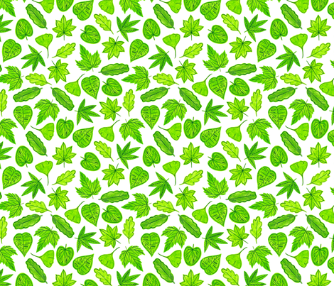 Green Leaves fabric by whimsymilieu on Spoonflower - custom fabric