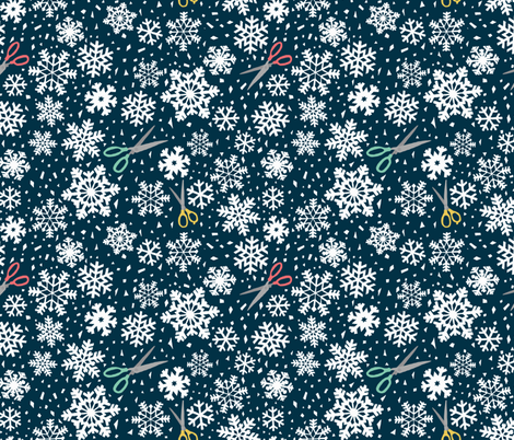 paper snowflakes blue fabric by heidikenney on Spoonflower - custom fabric