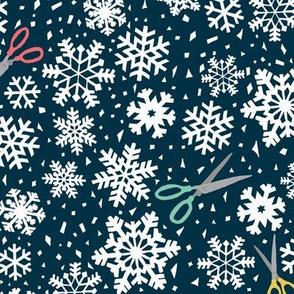 paper snowflakes blue