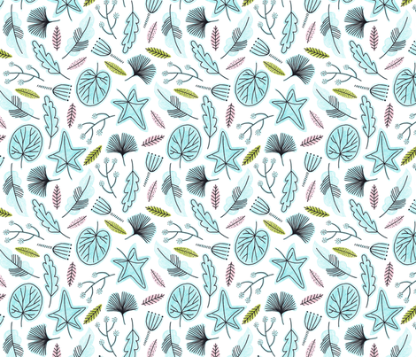 Blue Plants fabric by whimsymilieu on Spoonflower - custom fabric
