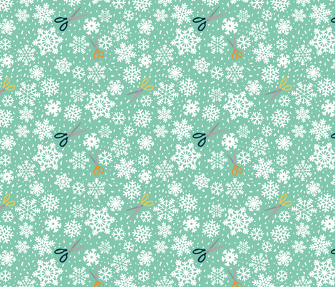 Paper snowflakes  green fabric by heidikenney on Spoonflower - custom fabric