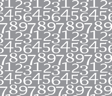 numbers on charcoal fabric by lilcubby on Spoonflower - custom fabric
