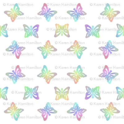 Micro Rainbow Butterfly Stencilled