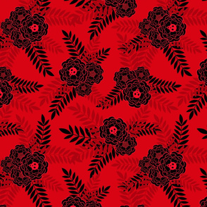 Marigold Skulls Red Black