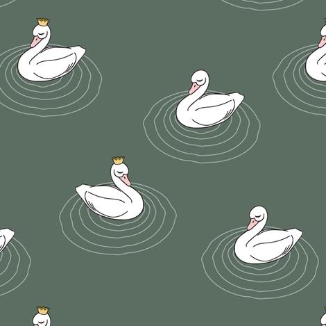 princess swan    dark sage fabric by littlearrowdesign on Spoonflower - custom fabric