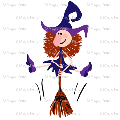 Dancing witch with broomstick