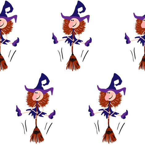 Dancing witch with broomstick fabric by magic_pencil on Spoonflower - custom fabric