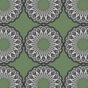 Black and white mandalas on green
