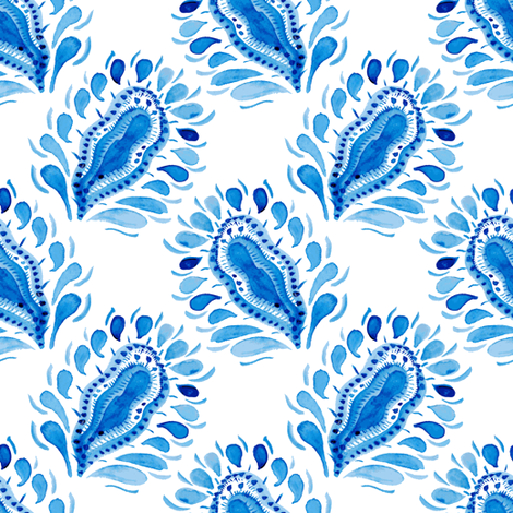 Traditional blue and white pattern fabric by magic_pencil on Spoonflower - custom fabric