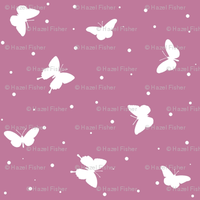 Small Butterflies - Lavender and White