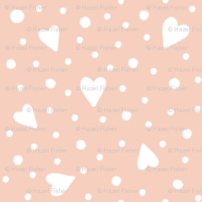 Ditsy Hearts and Spots White on Peach