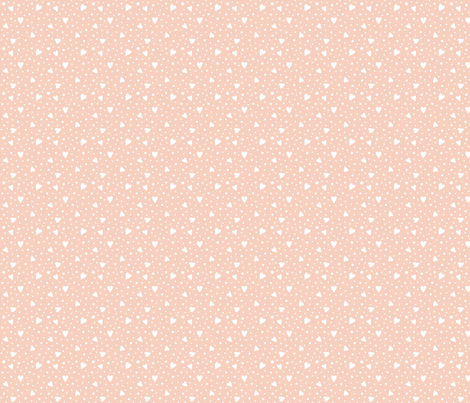 Ditsy Hearts and Spots White on Peach fabric by hazel_fisher_creations on Spoonflower - custom fabric