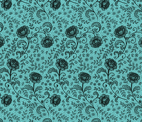 Lace full pattern - Black on Turquoise fabric by hazelfishercreations on Spoonflower - custom fabric