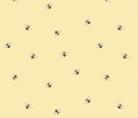 Bees on yellow chevron fabric by hazel_fisher_creations on Spoonflower - custom fabric