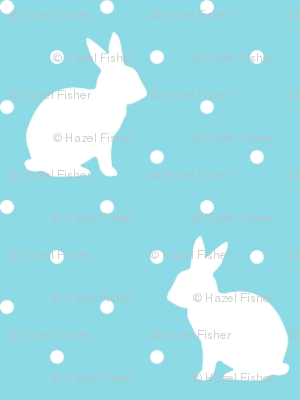 Rabbits and Spots - white on blue