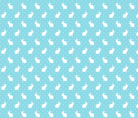 Rabbits and Spots - white on blue fabric by hazel_fisher_creations on Spoonflower - custom fabric