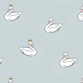 princess swan || sleepy swan fabric