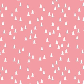 Tiny cute christmas trees cool Scandinavian style seasonal fabric pink