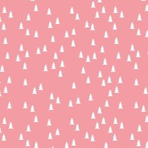 Tiny cute christmas trees cool Scandinavian style seasonal fabric pink