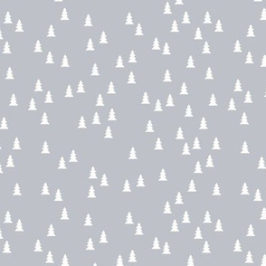Tiny cute christmas trees cool Scandinavian style seasonal fabric cool gray