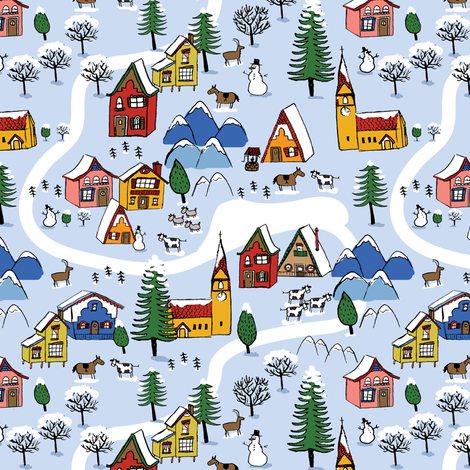 alpine village fabric by laurawrightstudio on Spoonflower - custom fabric