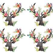 Floral Deer / Fat Quarter / 4 to 1 Yard