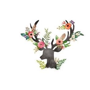 """Floral Deer 1 Fat Quarter about 5""""-6"""""""