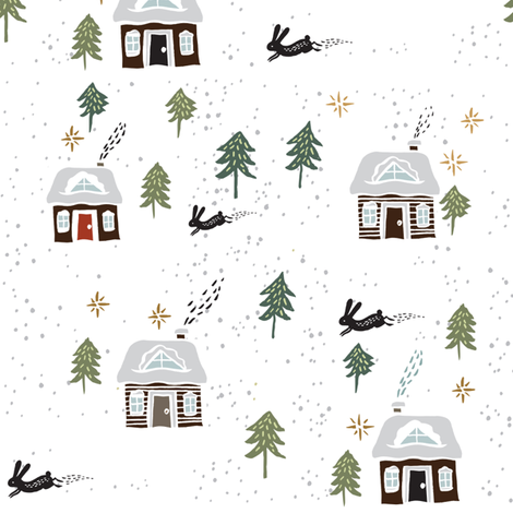 Swiss Chalet on White fabric by weegallery on Spoonflower - custom fabric