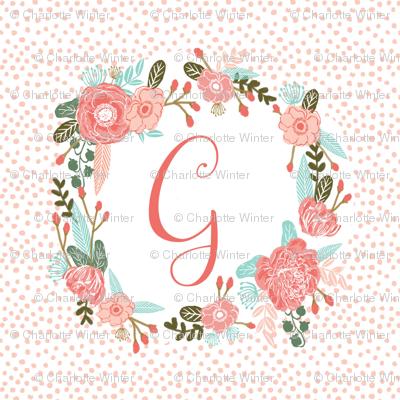 Letter G 5 Quot Square Cute Girls Floral Wreath Letter