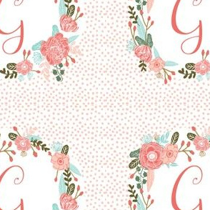 "letter g - 5"" square cute girls floral wreath letter monogram text"