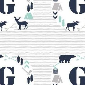 monogram g letter bear camping letter g font text