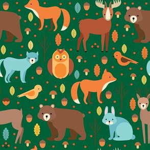 Woodland Forest Animals, Bear, Bunny Rabbit,Fox, Wolf, Birds