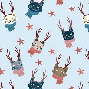 Christmas Winter Hipster Snow Kittens Cats Kittys
