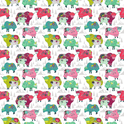 Alpine Yaks fabric by spottedpepperdesigns on Spoonflower - custom fabric