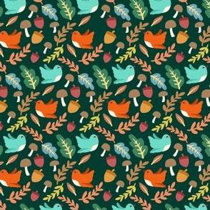 Cute Fall Birds Leaves Acorns