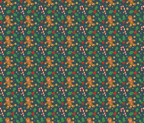 Cute Christmas Gingerbread Man, Candy Cane, Holly fabric by furbuddy on Spoonflower - custom fabric