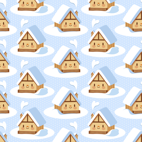 Cute alpine chalet fabric by petitspixels on Spoonflower - custom fabric