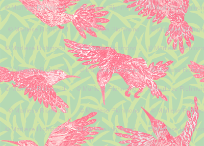 Pink hummingbirds and leaf pattern