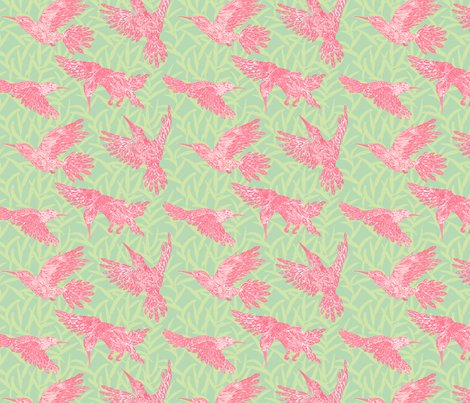 Rleaf_and_hummingbirds_pattern_-_pink_spoonflower_shop_preview